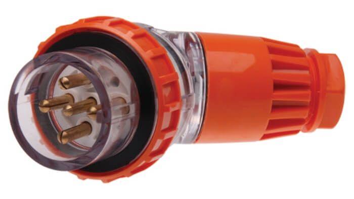 Three Phase 5 Round Pin Angled Plug