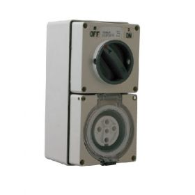 Three Phase 5 Round Pin Combo Switch & Socket